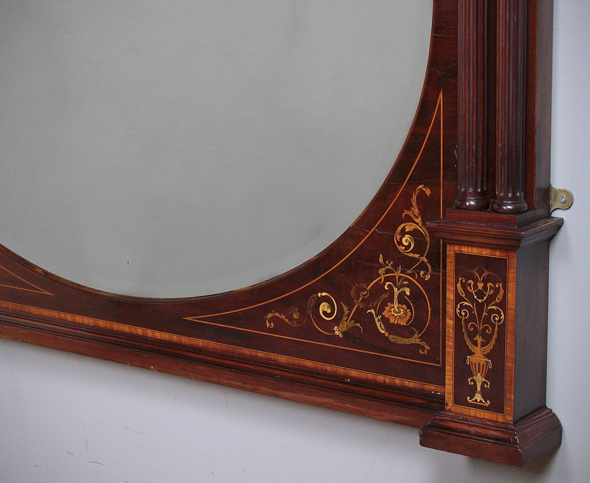 Antique Marquetry Inlaid Over Mantle Mirror C 1905 Mantle Mirror Mirror Overmantle Mirror