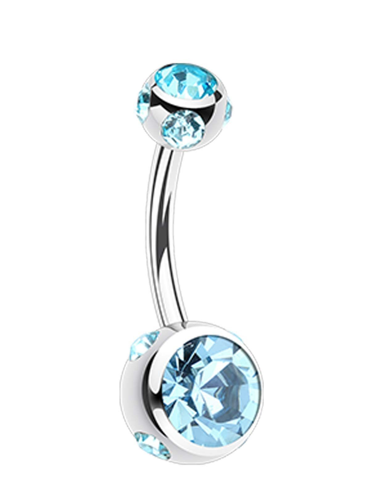 Aurora GlassGem Ball L Surgical Steel Belly Button Ring  Belly