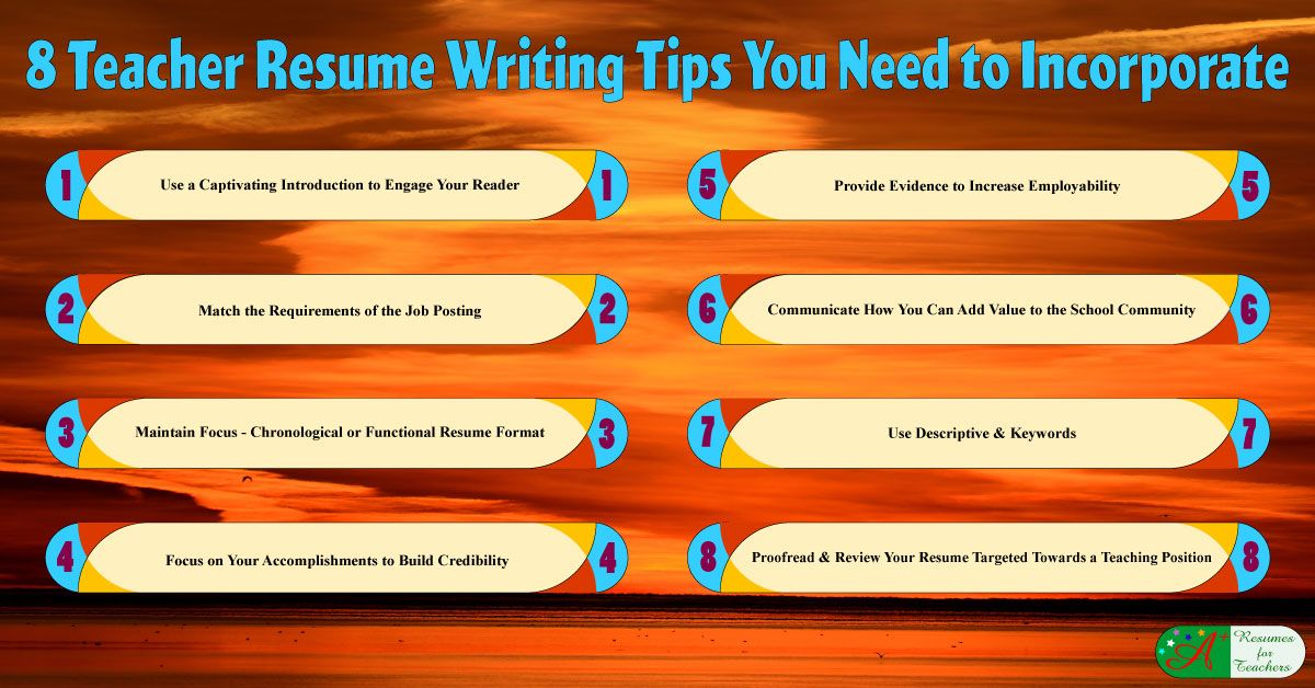8 Teacher Resume Writing Tips You Need to Incorporate | Accounting ...