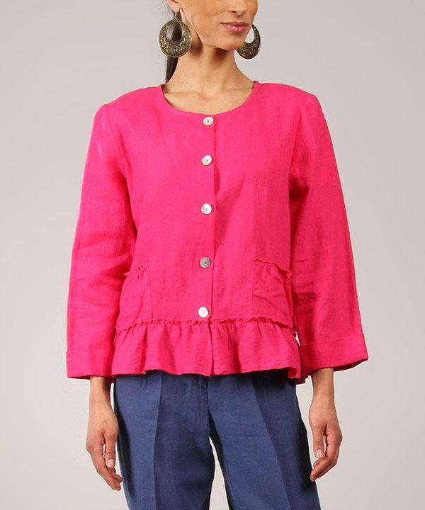 Loving this Fuchsia Ruffle Linen Jacket on #zulily! #zulilyfinds