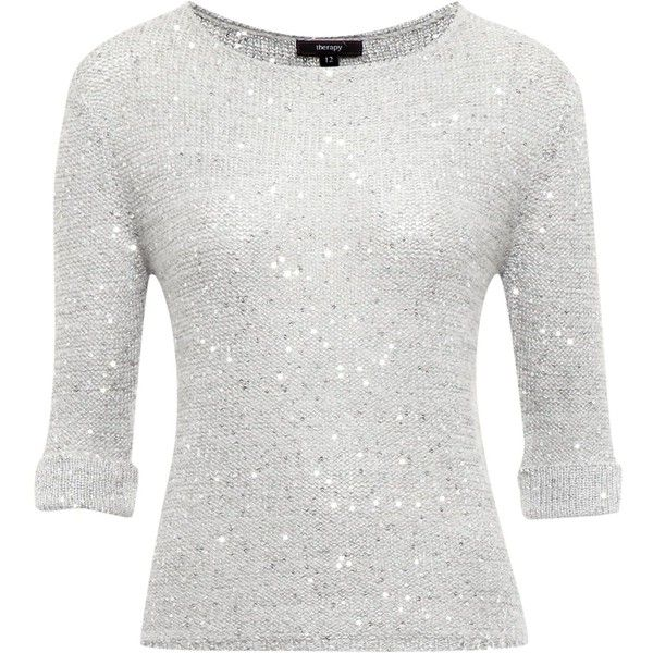 4983b3950bfb Therapy Sparkle sequin fine knit jumper ( 19) ❤ liked on Polyvore featuring  tops, sweaters, shirts, jumpers, silver, women, white sequin sweater, ...