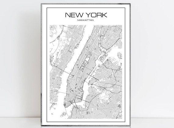 New York Map Manhattan Map Instant Download Poster Print Wall Art
