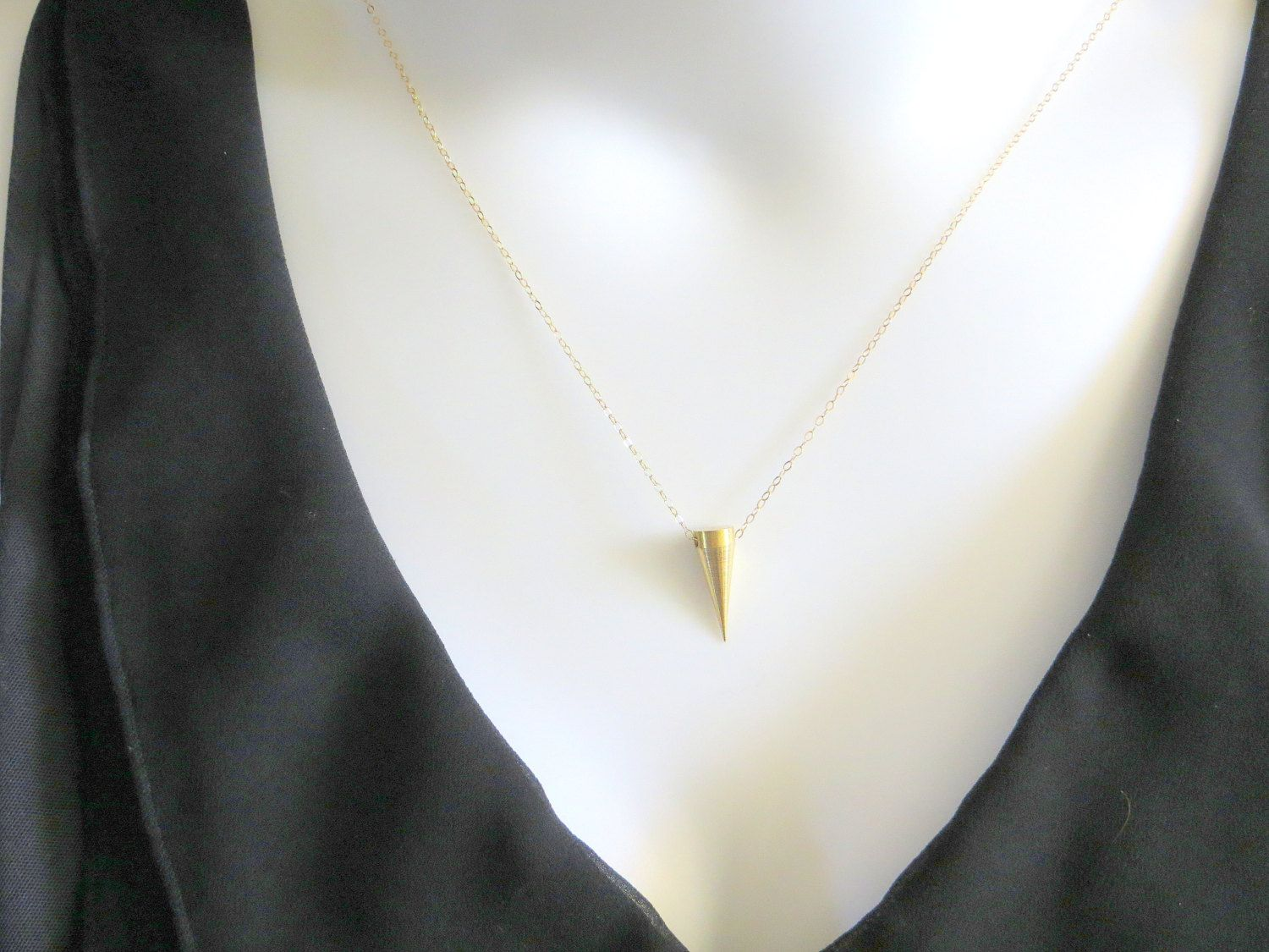 Gold+Filled+Spike+Pendant+Necklace+by+Maddiecatandme+on+Etsy