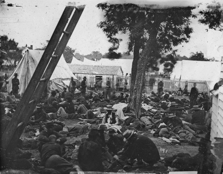 The day after Seven Pines, Gen. Robert E. Lee was given command of the Confederate army and launched a weeklong series of attacks known as the Seven days' Battles -- one of which raged here, at Savage's Station.  Most of the wounded men in this image were captured the next day.
