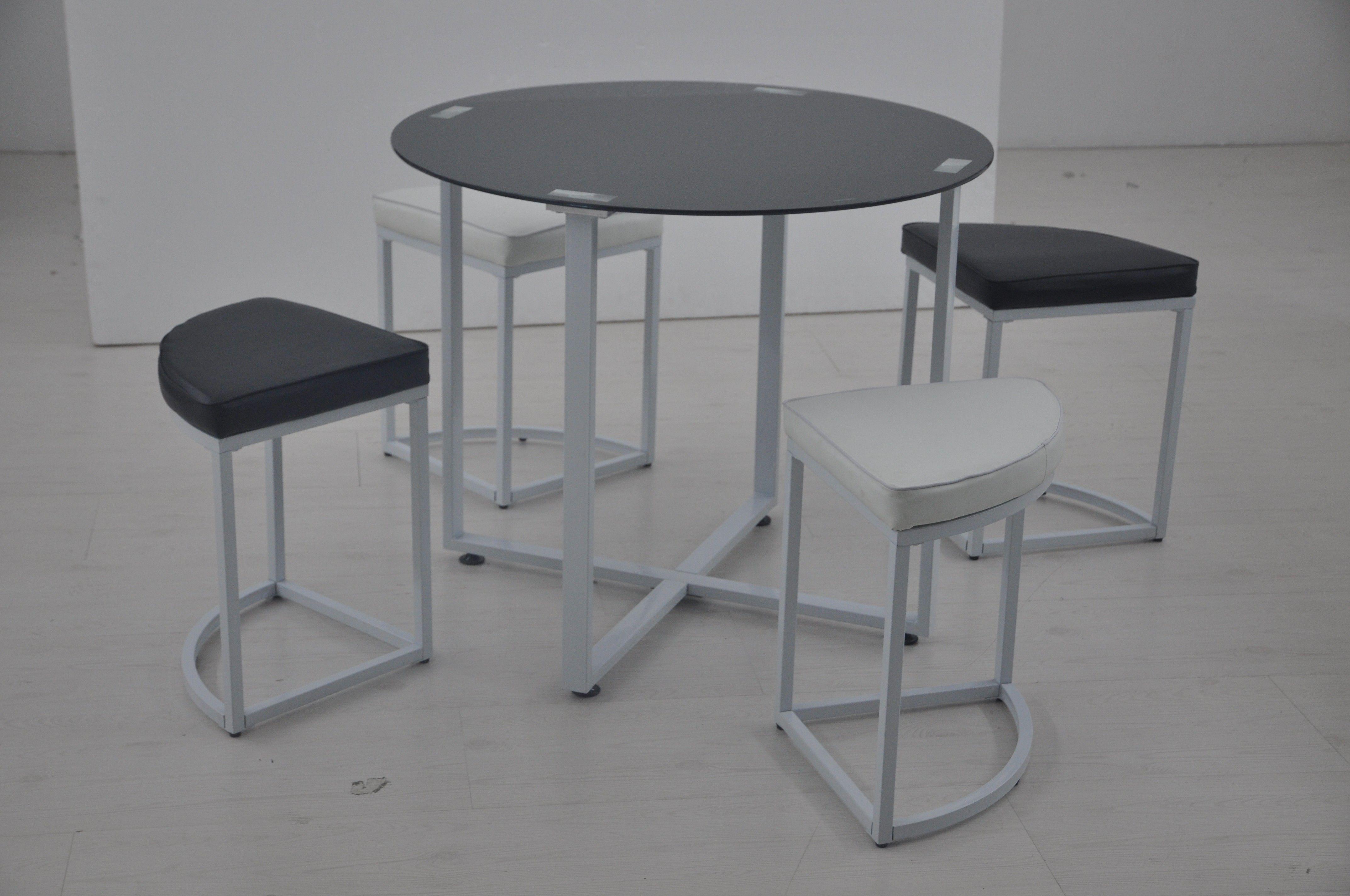 Conjunto mesa 4 taburetes domino en conforama ideal para espacios