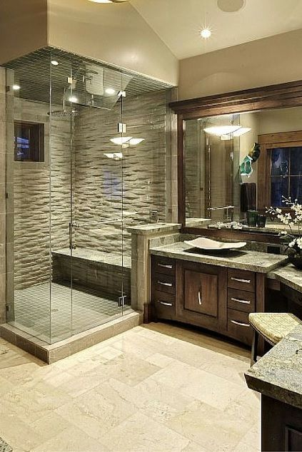 Merveilleux Master Bathroom. Dark Wood Cabinet And Modern Tile Floor.