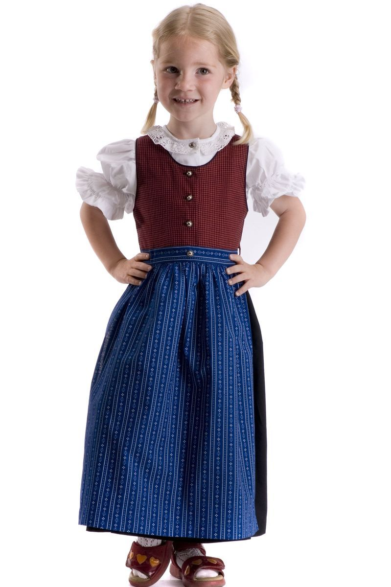 kinderdirndl viktoria rot blau das traditionelle rot blaue dirndl mit schwarzem. Black Bedroom Furniture Sets. Home Design Ideas