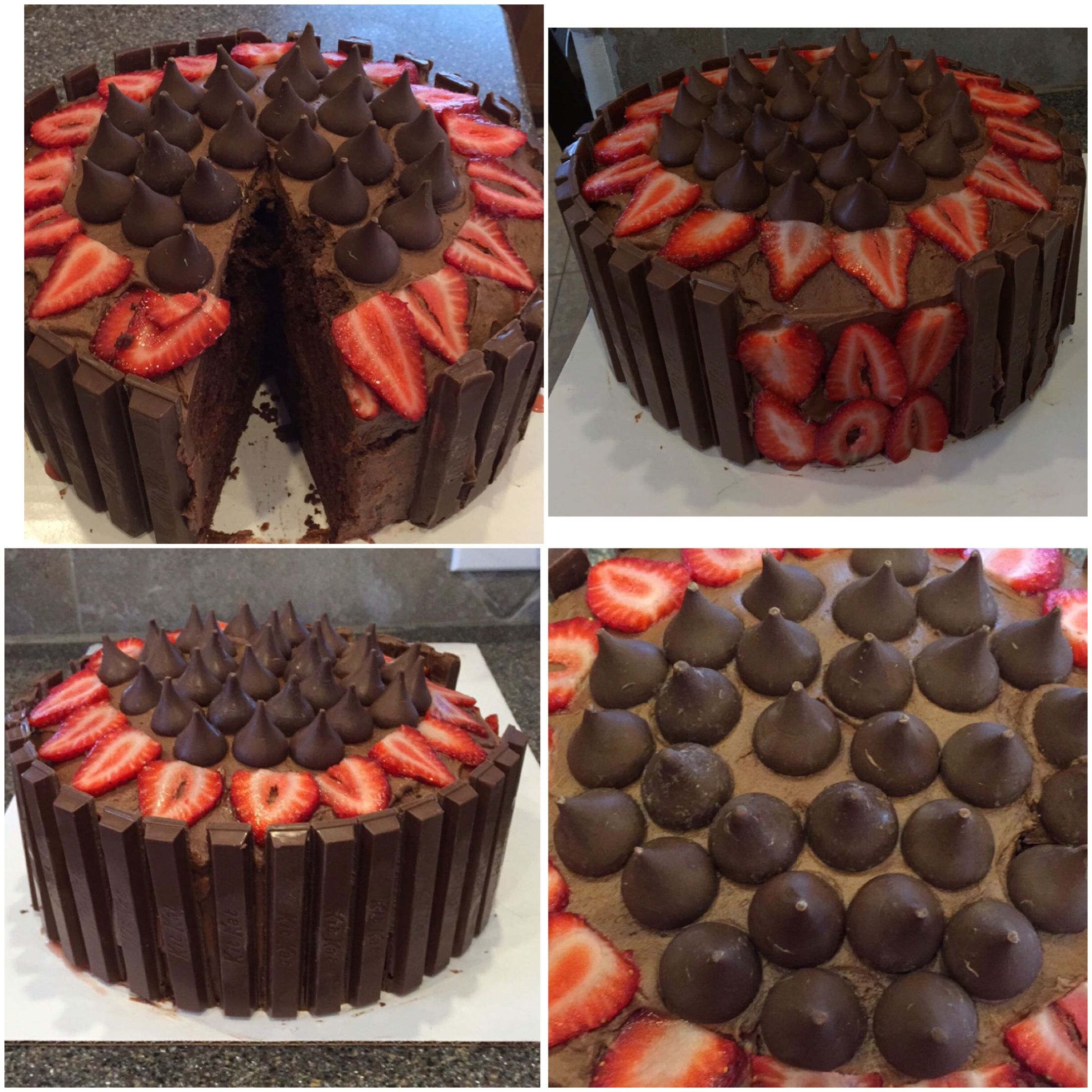 Chocolate Cake with Kit Kats Hershey's Kisses and Strawberries ...