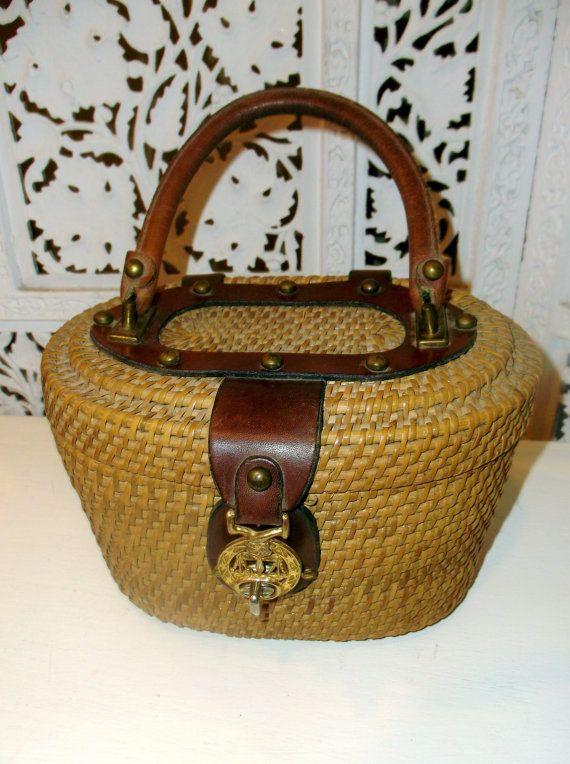 Vintage Wicker Woven Oval Basket by VintageDoylestown on Etsy, $48.00