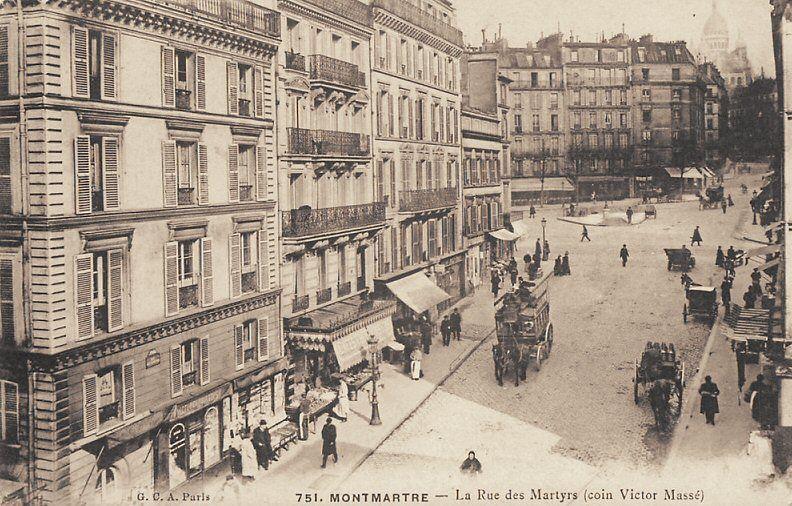 La rue des Martyrs au niveau de la rue Victor-Massé, vers 1900 (Paris…