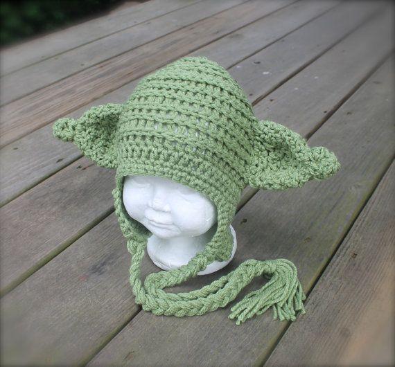 Baby Alien Hat Newborn Yoda Hat Infant Yoda by HookedByNurseSharon ...