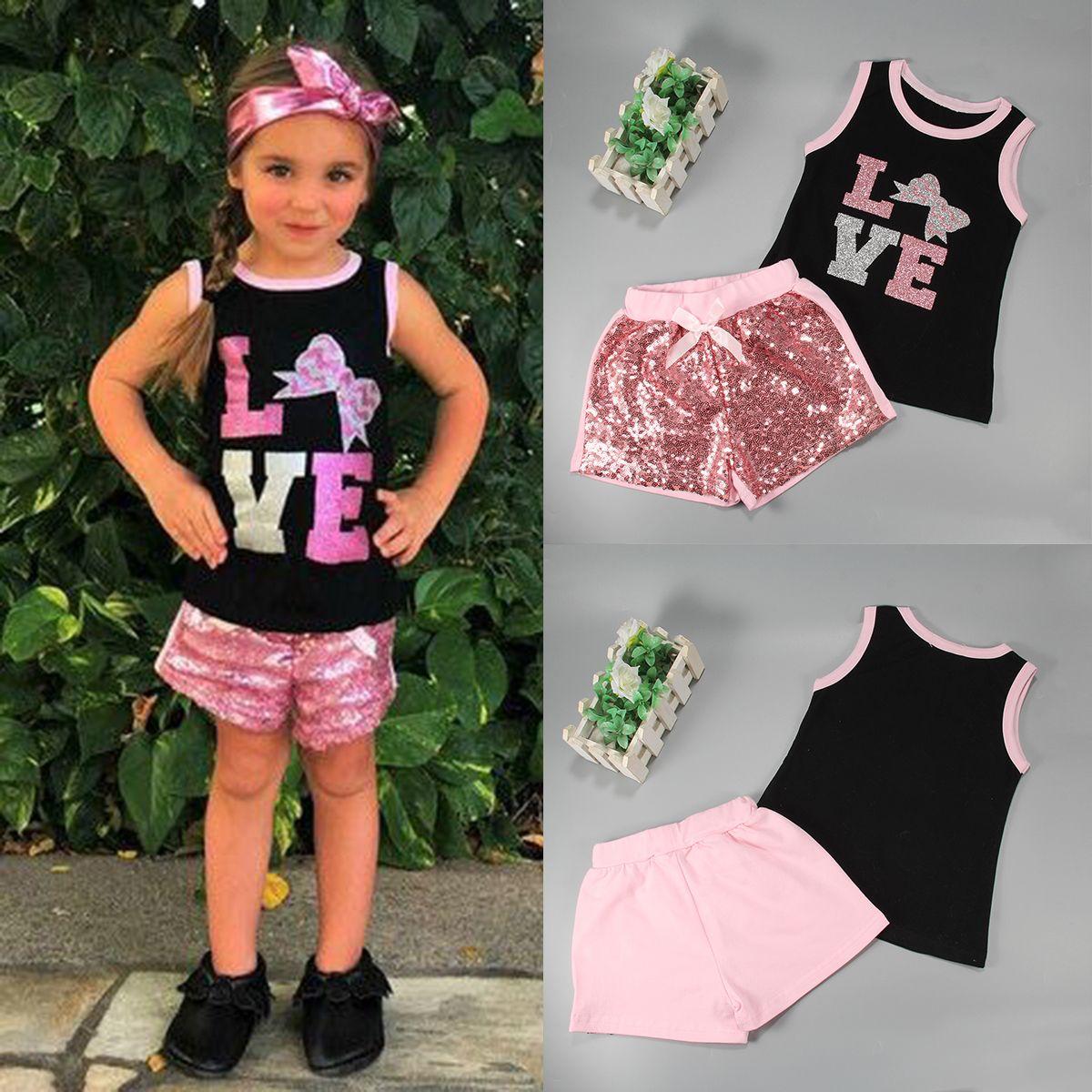 60cef34c3 2pcs Toddler Kids Baby Girls Summer Clothes T-shirt Tops+Shorts ...