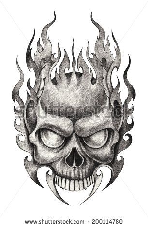 Skull Tattoo Hand Drawing On Paper Skulls Drawing Skull Artwork Skull Art