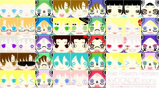 Vocaloid and Hetalia icons :3