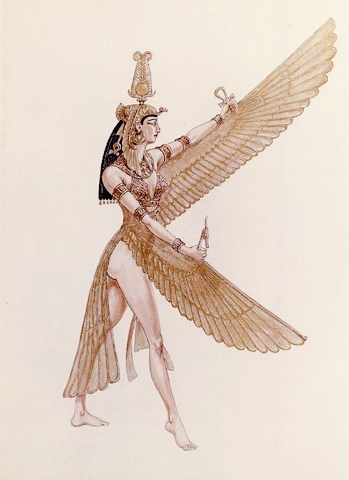 Costume design sketch by Vittorio Novarese for dancer in the 1963 Cleopatra film.