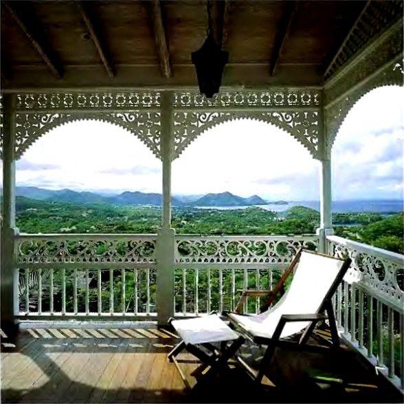 Caribbean colonial veranda british colonial style for Verandah designs in india
