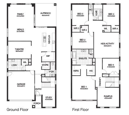 5 Bedroom 44 24sq Hampton 4700 By Burbank Homes Rectangle House Plans House Layout Plans Two Storey House Plans