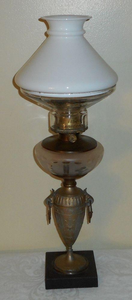 Fancy C1880 B&H Iron Base Cut Bowl Handled Oil Lamp Burner Illuminator Top Shade