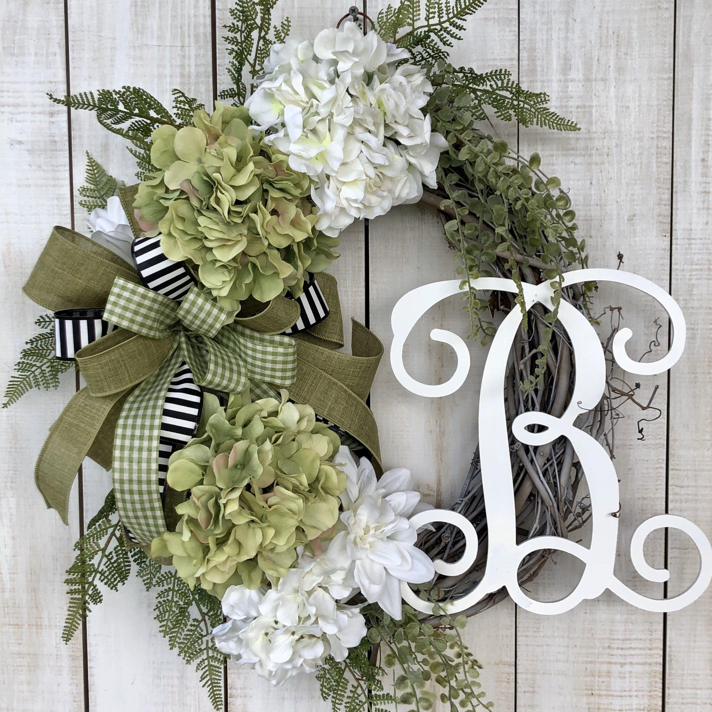 Photo of Monogram wreaths, Everyday wreath, farmhouse wreath, Hydrangea wreath, all season wreath, everyday wreath for front door, Christmas gift