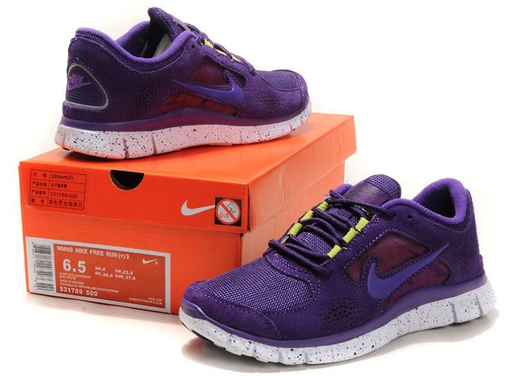 low priced 2469a f1574 Vip Shop Running Shoes Purple white Nike Free Run +3 Women s Suede Noble  169067a0