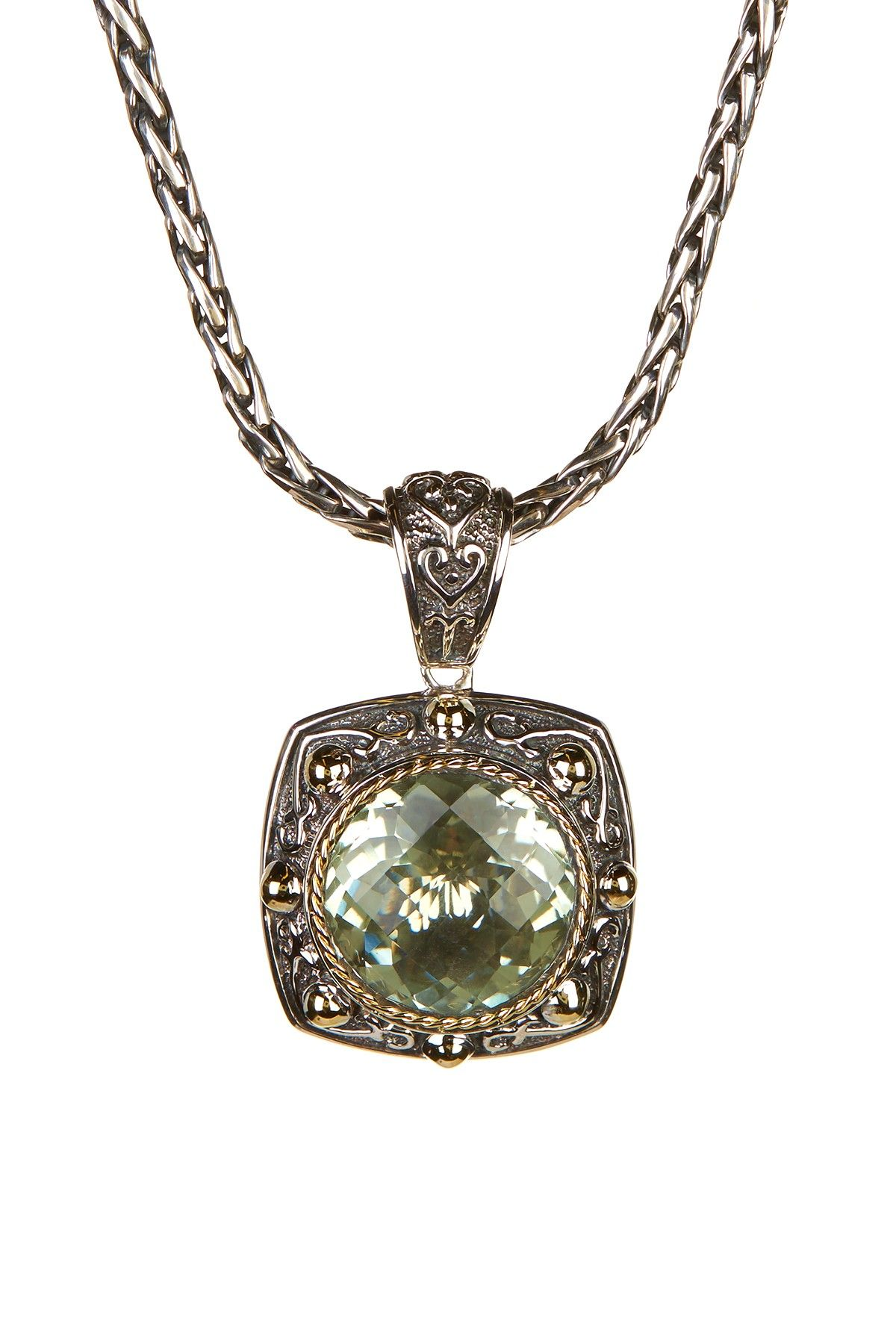 Miore Ladies 18ct Yellow Gold Green Amethyst Pendant FBOD3