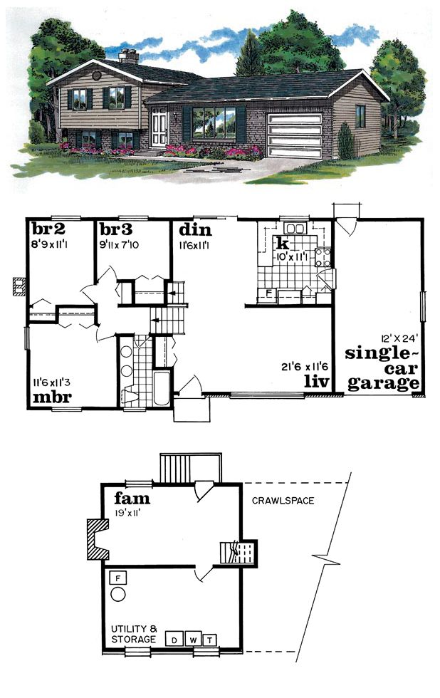 House Plan 55137 With 3 Bed 1 Bath 1 Car Garage Free House Plans Split Level House Plans House Plans