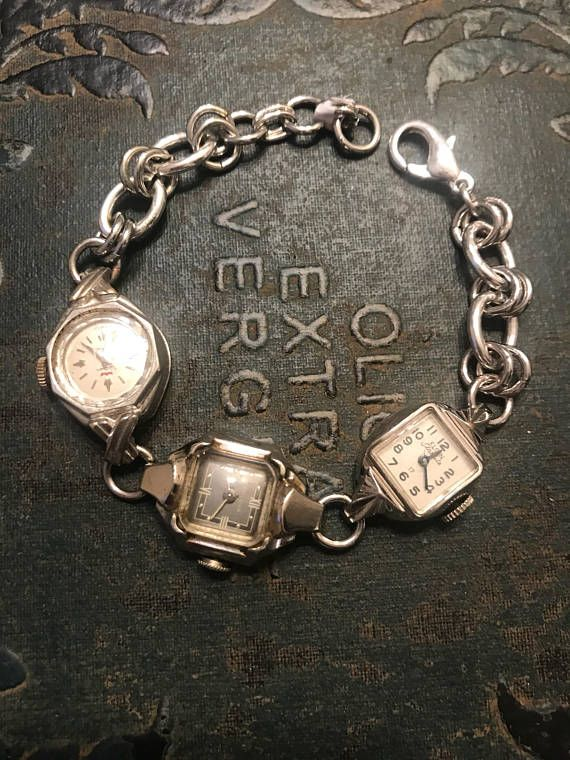 Silver Bracelet made from Vintage Watches #vintagewatches