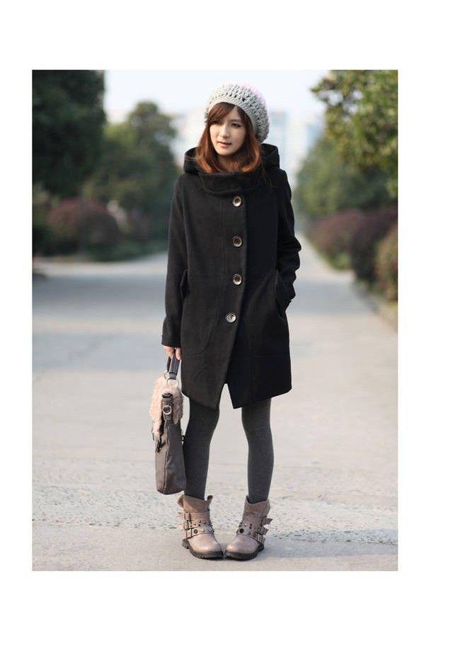 c8c0efc18cf5f Urban Sapes-Manteau duffle en laine pour femme avec large capuche ...