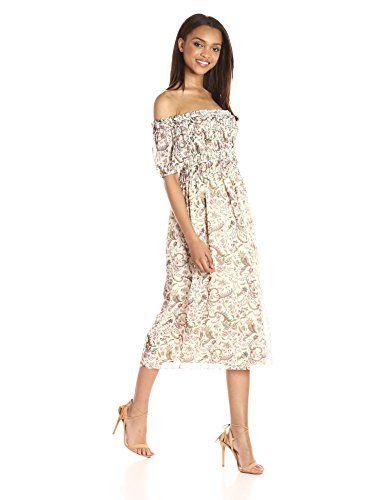 7c83eae2 Max Studio Womens Smocked Off the Shoulder Maxi Dress Wavy Branch Pnl  XSmall -- ** AMAZON BEST BUY ** #WhiteTheme