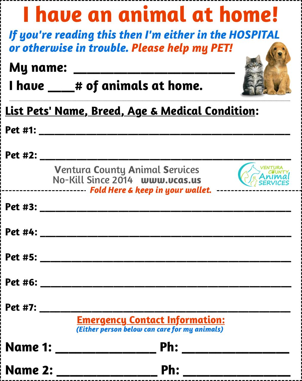 Pet Emergency Card Pet Emergency Card Pet Emergency