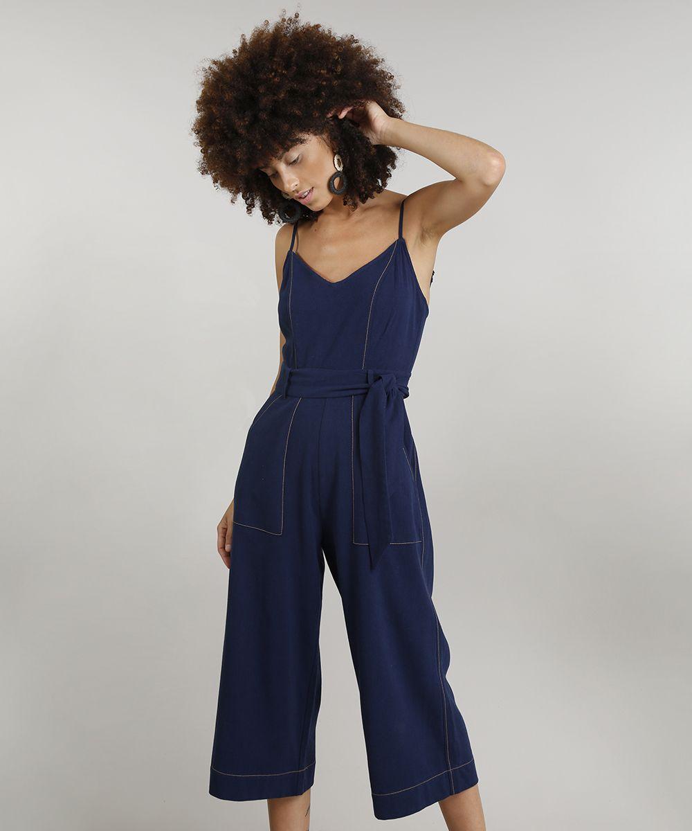 6fd5949ad Macacao-Pantacourt-Feminino-Dress-To-Linho-com-Faixa-de-Amarrar-Azul ...