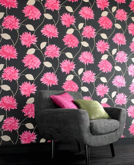 Romance: Black & Pink Wallpaper from www.grahambrown.com- Concept Candie Interiors offers virtual interior design services for the affordable price of $200.00 per room!
