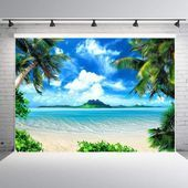 7x5ft Tropical Beach Backdrop Vinyl Palm Trees Blue Sky Background for Photograp7x5ft
