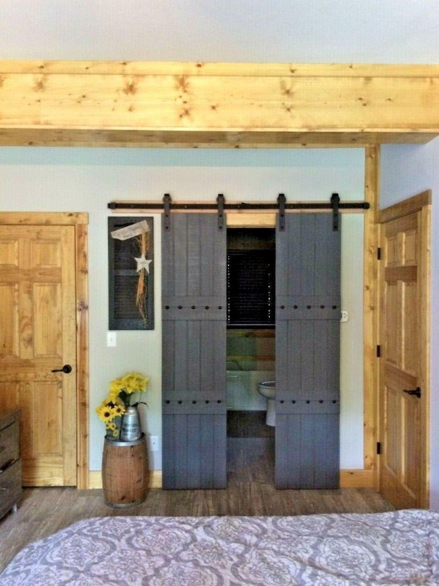Gray Double Barndoors Hardware 6 6ft Sliding Barn Door Track Kit W 4 Rollers Wood Inter Double Barn Doors Interior Barn Doors