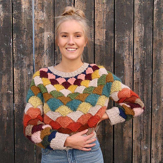 Knit a Pangolin Statement Sweater With Scarp Yarn … Gorgeous Stashbuster! #knittinginspiration