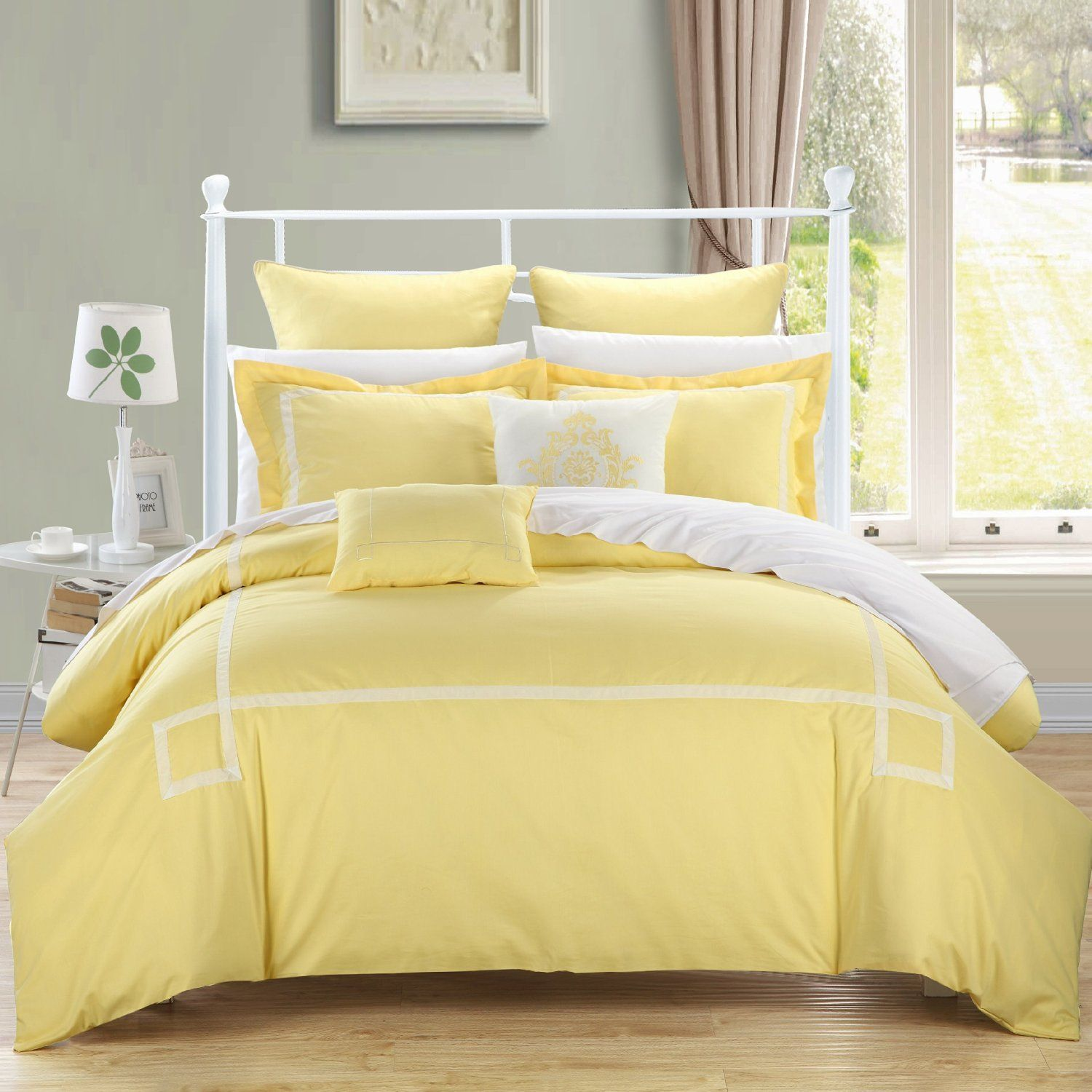 Elegant Yellow White Comforters Sets Yellow Bedding Sets You