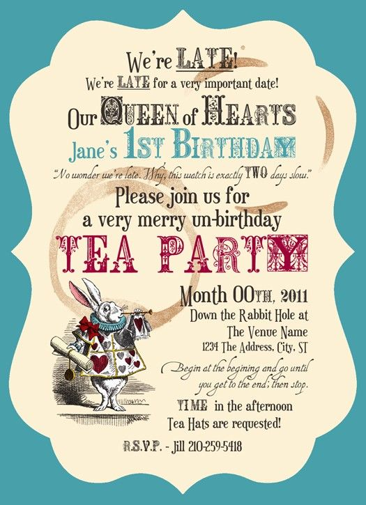 Mad Tea Party Birthday Party Invitations Set by PaperCutCouture
