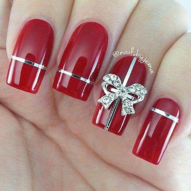 Rojo Navidad Regalo Red Nails Uñas Pintadas Christmas Nail Art