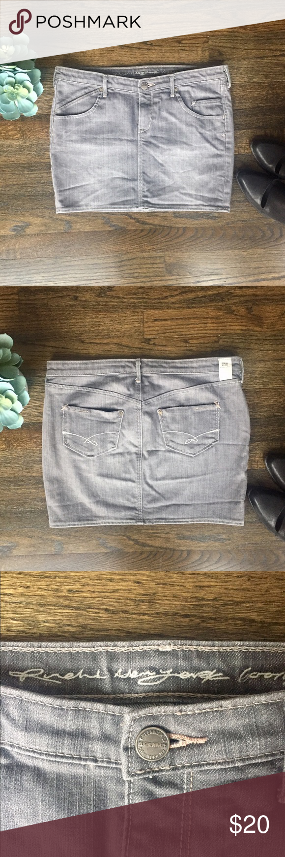 Ruehl Jean Mini Skirt Gray mini denim skirt from Ruehl. Slightly distressed look, white and baby pink stitching, silver hardware, five pockets, and zip fly. In like-new condition. Ruehl No. 925 Skirts Mini