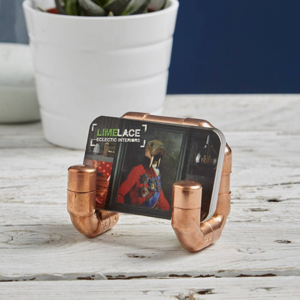 Industrial Copper Pipe Business Card Holder | Business card holders ...