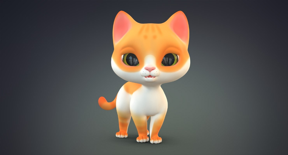 3D cute cartoon cat 2 model TurboSquid in 2020 Cute