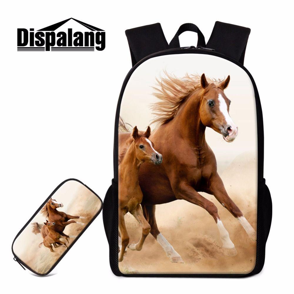 fcdf8f260c Dispalang Horse Printing School Backpacks for Girls Teen Boys Cool Animal  Bookbags Cute Lightweight Backpack Pencil