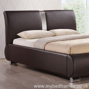 Contemporary Faux Leather And Chrome Bed Frame Features A High Curved Headboard Low Foot End Available In Brown With Unique
