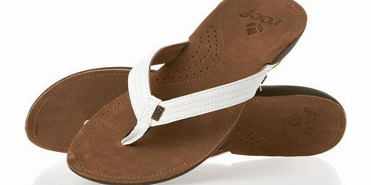 426c90fab5ad7 Reef Womens Reef Miss J-Bay Flip Flops - Tan White Low impact to the  environment full grain padded leather strap