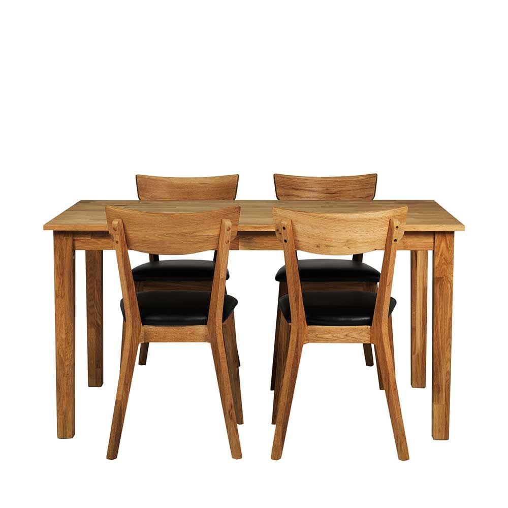 4 Stühle und Esstisch aus Eiche Massivholz Kunstleder Schwarz (5 ...