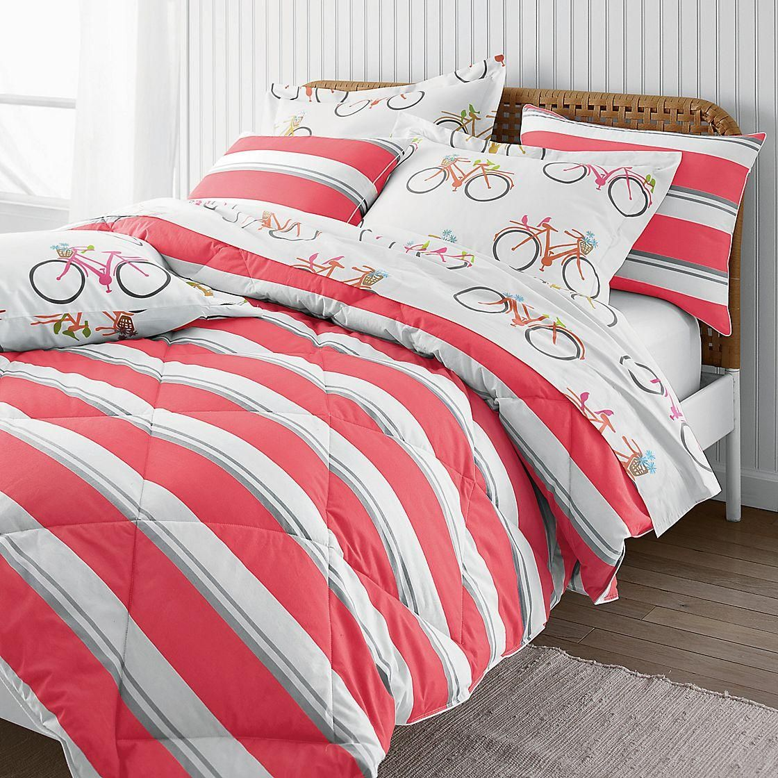 Ultracozy striped comforter filled with lofty, white 500