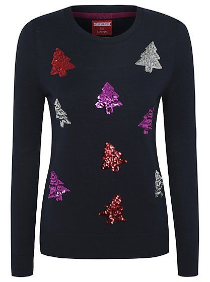 31a4abc17176 Cute Christmas Jumpers - Christmas Trees Sequin Jumper | Women | George at  ASDA