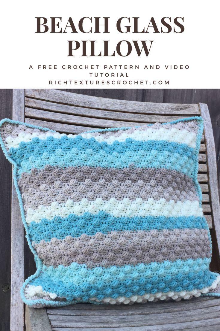 Beach glass throw pillow a free crochet pattern free