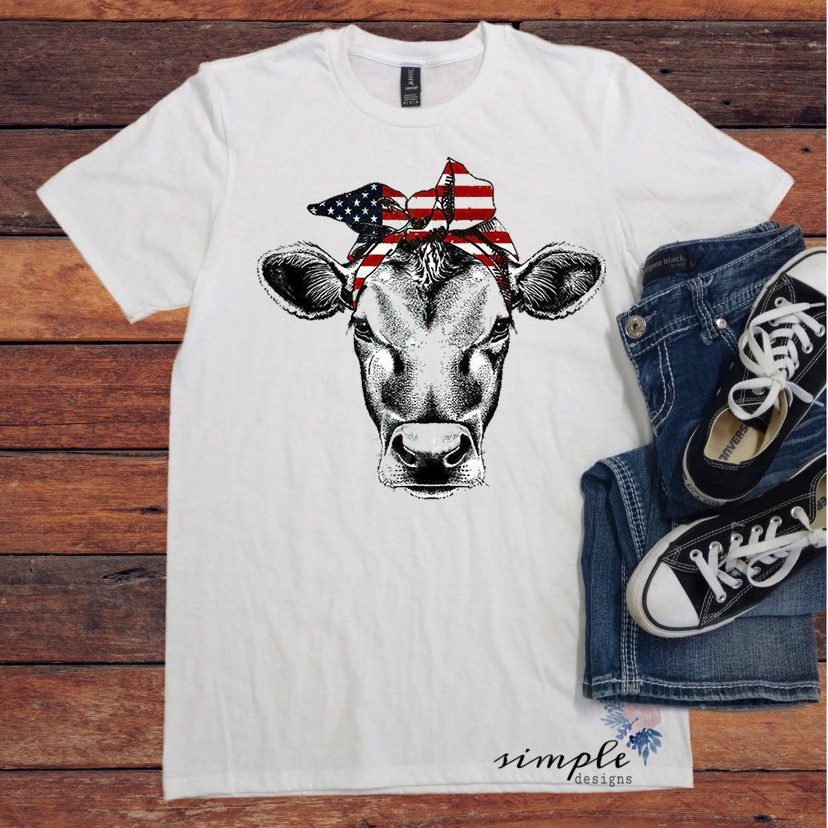 5a2bc807 Red White and Blue Bandana Cow T-shirt, Patriotic Cow Shirt, 4th of Ju –  Simple Designs and More