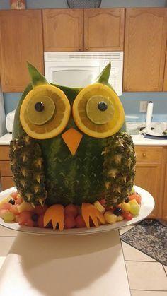 Owl fruit watermelon   Fruit basket watermelon, Fruit ...